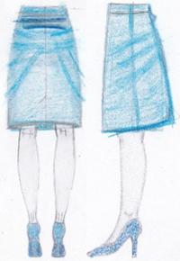 pasvorm rok opwippende achterkant en plooien taille