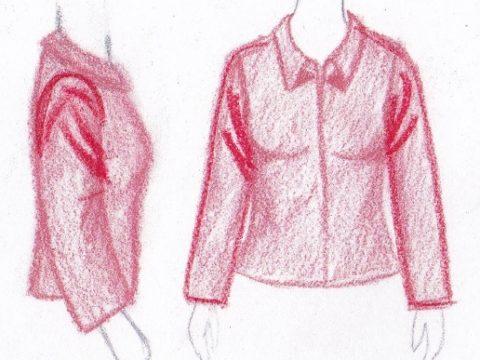 pasvorm blouse colbert plooien in oksel