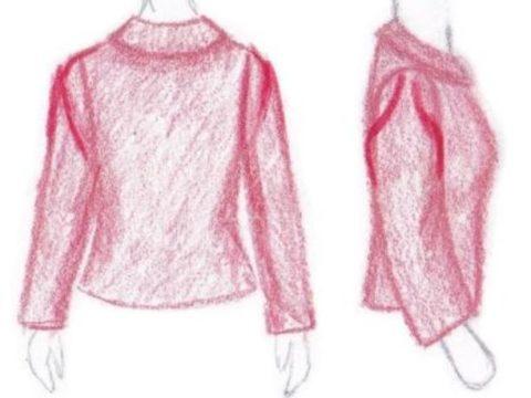 pasvorm blouse colbert verticale plooien in mouwkop