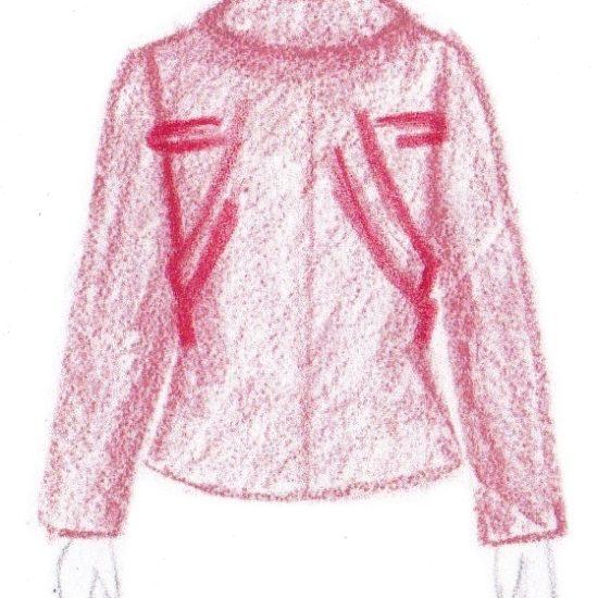 pasvorm blouse colbert - schuine plooien onder schouders