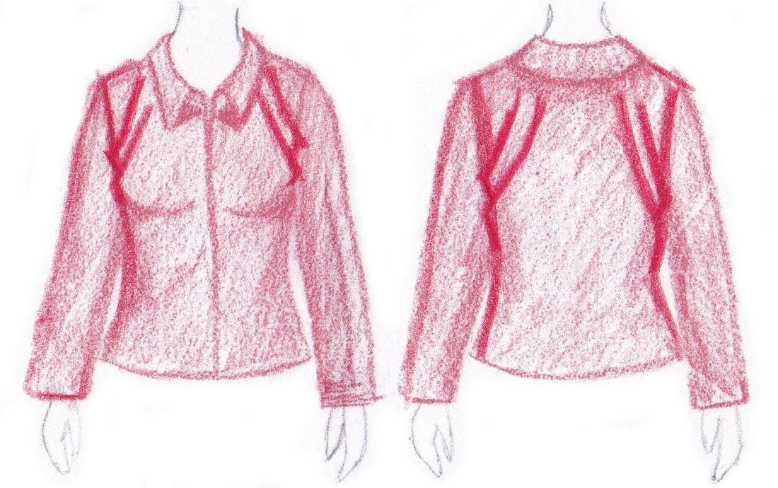 pasvorm blouse colbert - schuine plooien op schouders