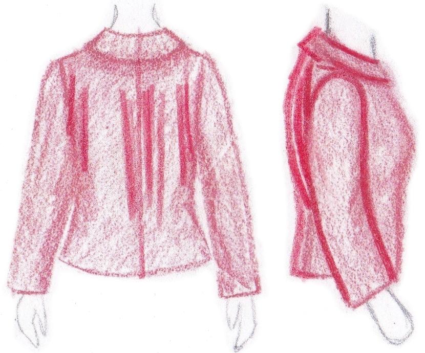 pasvorm blouse colbert - verticale plooien